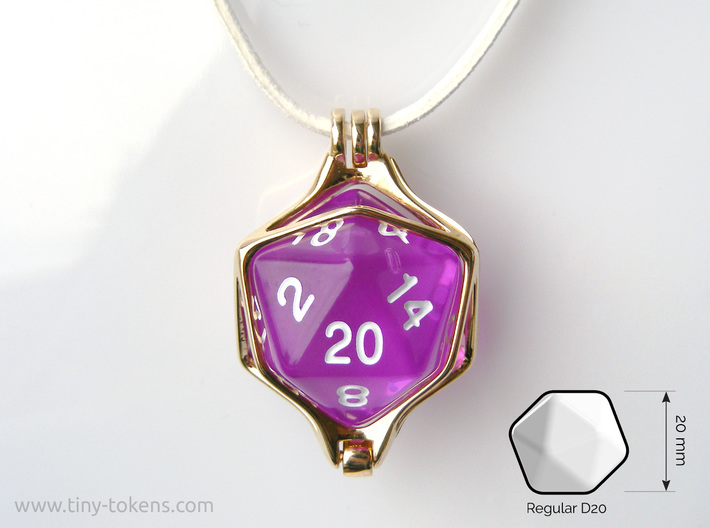Dice Pendant - D20 20mm 3d printed This pendant fits a regular 20 mm twenty sided die