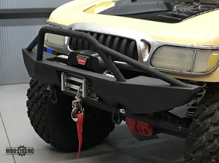 Winch Bumper for Axial Trail Honcho Full 3d printed Bumper shown with optional RC4WD Warn winch and shackles