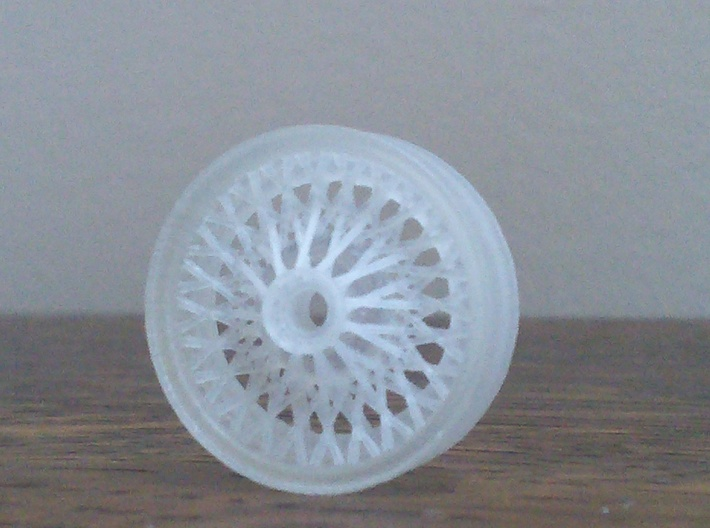 British style wire wheel 3d printed Unpainted wheel the way it comes out of the package. I'm