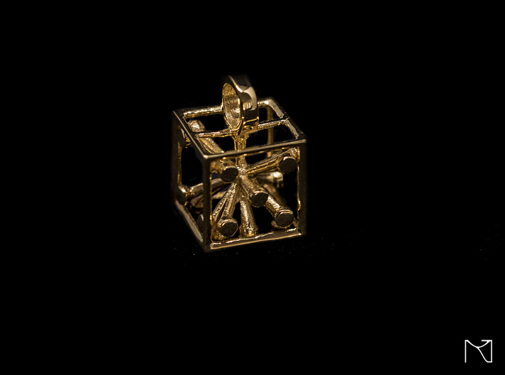 Dice Pendant 3d printed 18k Gold plated