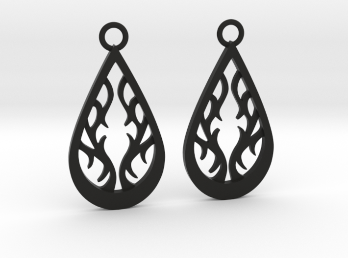Fire earrings 3d printed