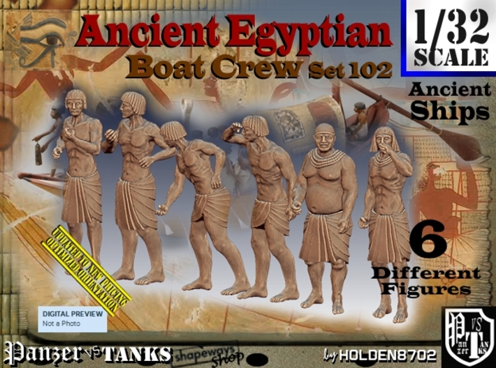 1/32 Ancient Egyptian Boat Crew Set102 3d printed