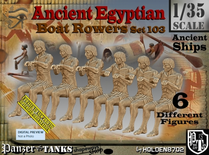 1/35 Ancient Egyptian Boat Rowers Set103 3d printed