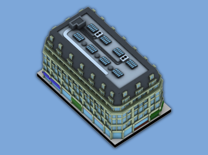 London Set 1 Apartments above Shopping Strip 3 x 4 3d printed