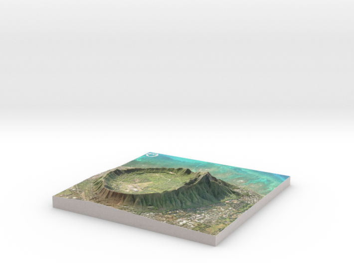 "Diamond Head, Hawaii: 6""x6"" 3d printed"