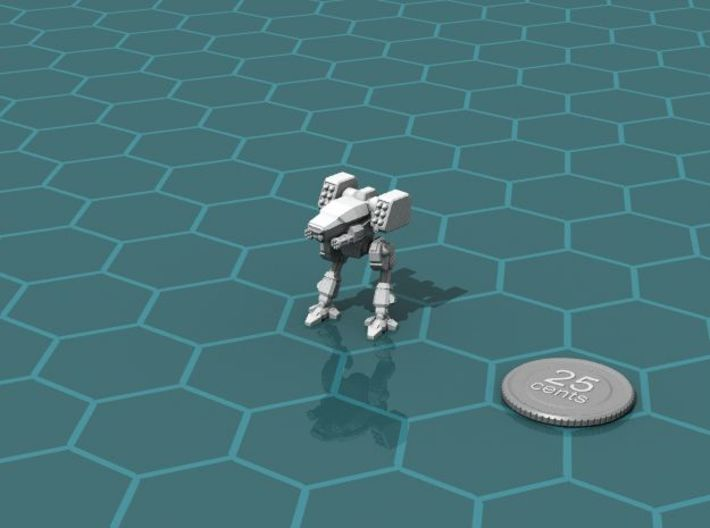 Terran Fast Attack Walker 3d printed Render of the model, with a virtual quarter for scale.
