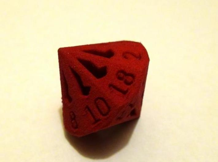 18 Sided Die - Large 3d printed 18 Sided Die in red strong & flexible - view 2