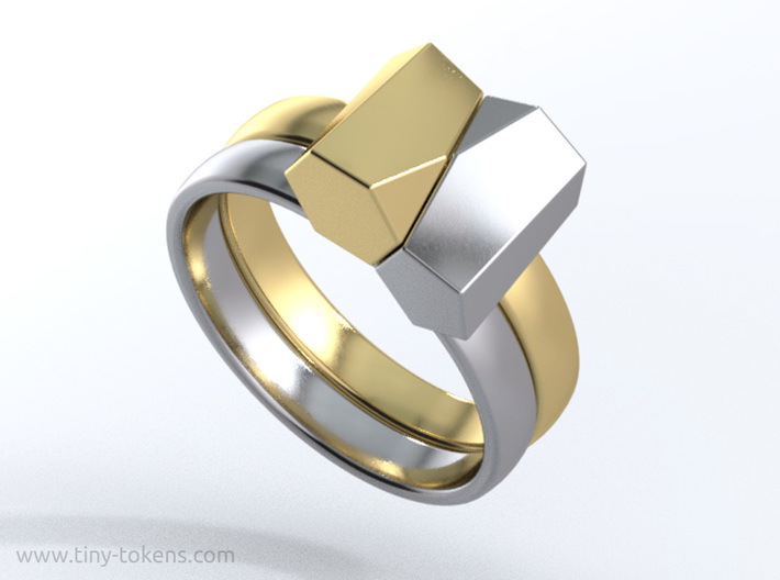 Scutoid Packing Ring  3d printed Two rings in different materials give a special effect