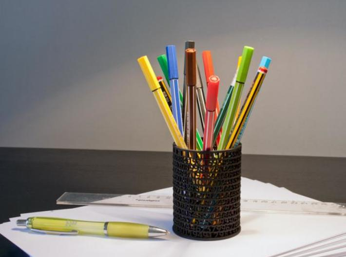 Pi Pen Holder small 3d printed Black Strong & Flexible