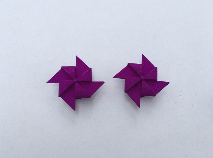 Pinwheel Earrings | Kinetic 3d printed Violet