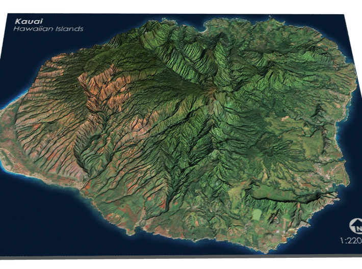 Kauaʻi Map, Hawaiian Islands 3d printed