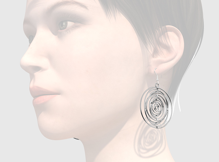 Whirlpool earrings 3d printed