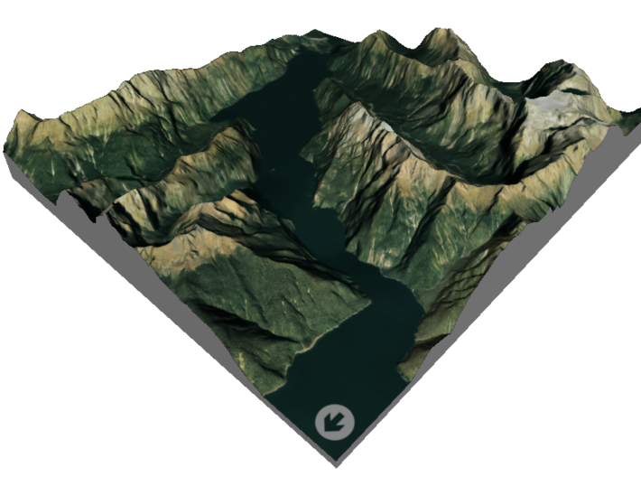 Milford Sound Map, New Zealand 3d printed