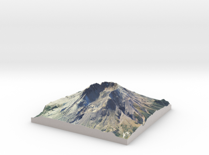 "Mount St. Helens Map: 6"" 3d printed"