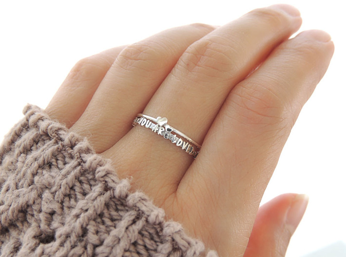 You Are Loved Ring (Multiple Sizes) 3d printed Twin Heart and 'You Are Loved' Ring in Polished Silver with Aftermarket Patina