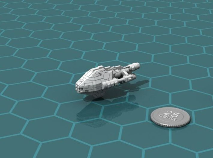 Galimek Battleship 3d printed Render of the model, with a virtual quarter for scale.