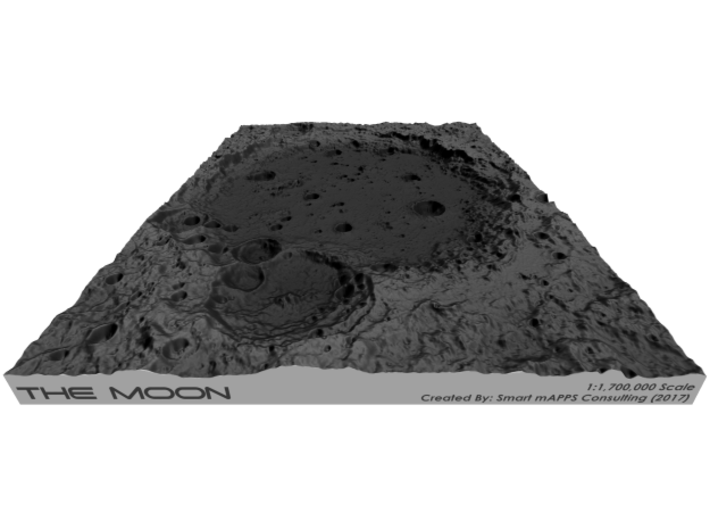 Moon Map: Large Crater, B&W 3d printed