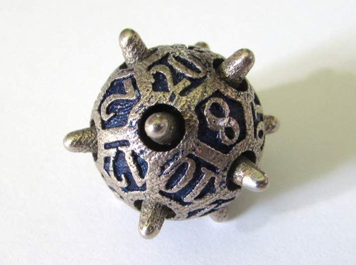 Sputnik d20 3d printed In Stainless Steel and inked