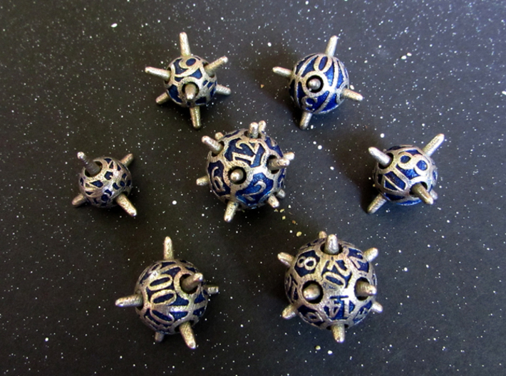Sputnik Dice Set With Decader 3d printed In Stainless Steel and inked