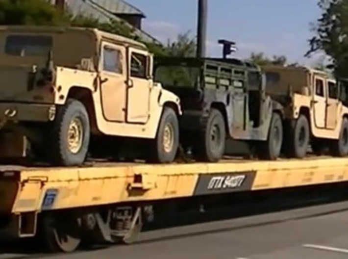 """m966v2 160 scale 3d printed Up to 5 Humvees on 85"""" flat car."""