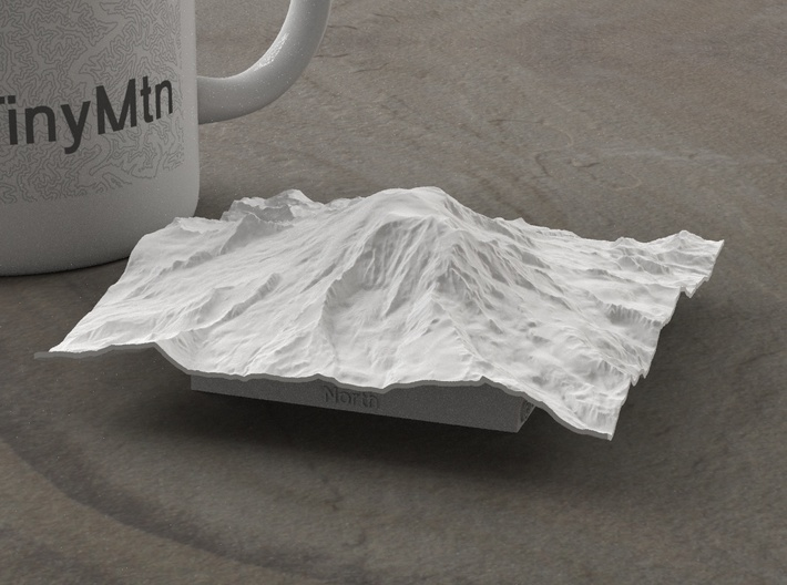 4'' Mt. Rainier, Washington, USA 3d printed