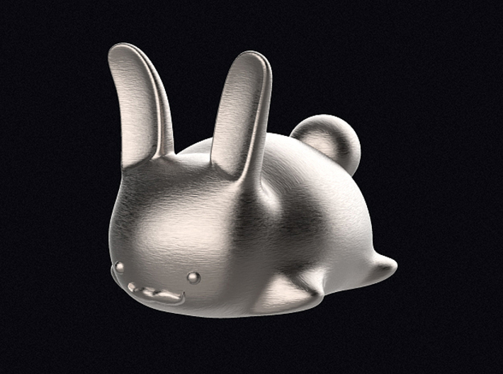 Moustache Bunneh 3d printed 3D render of the bunny in Polished Bronzed-Silver Steel