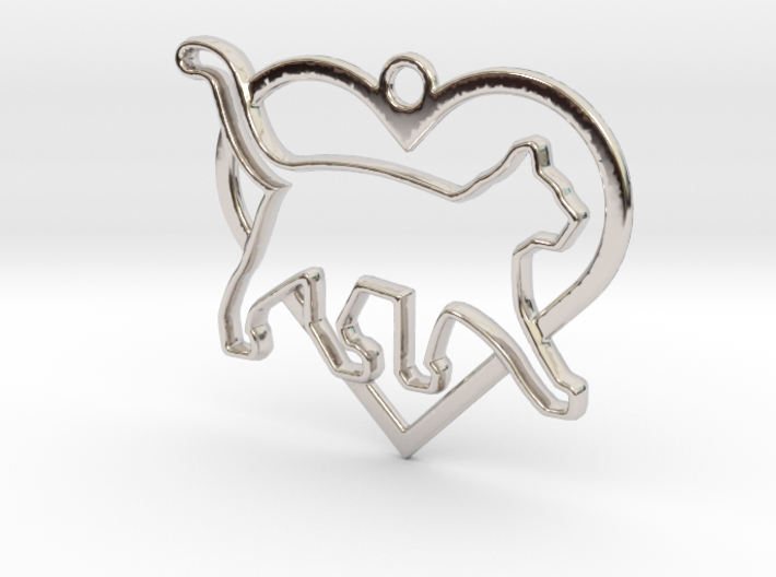 Cat & heart intertwined Pendant 3d printed