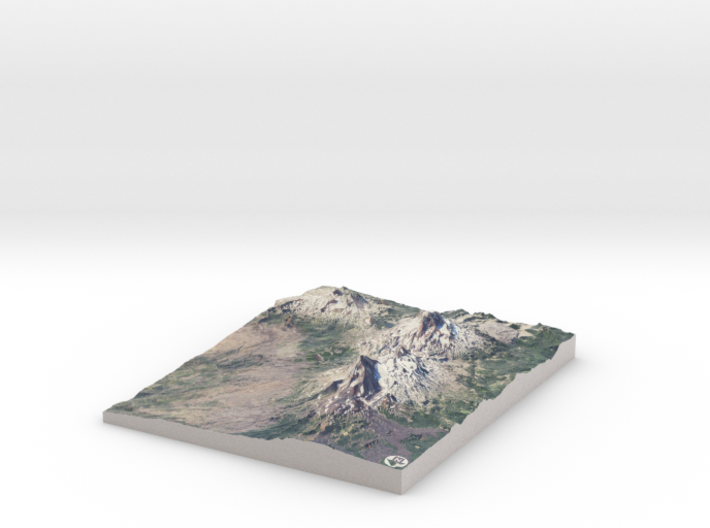 "Three Sisters Volcanic Peaks, Oregon: 8""x10"" 3d printed"