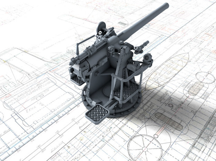 "1/72 RN 4""/45 (10.2 cm) QF MKV MKIII 3d printed 3d render showing product detail"