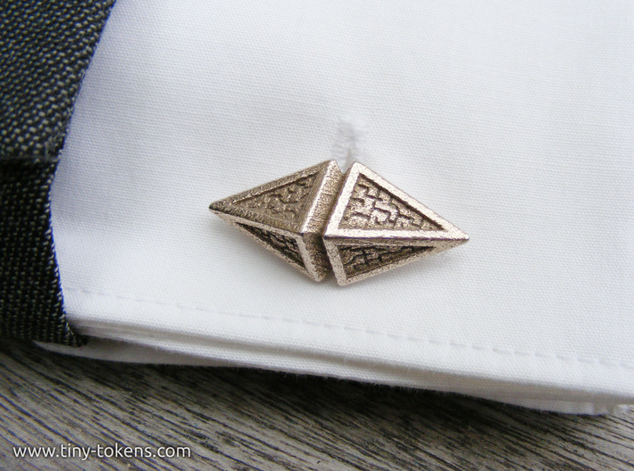 Zendikar Hedron Cufflinks 3d printed Close up of a cufflink on a French cuff.