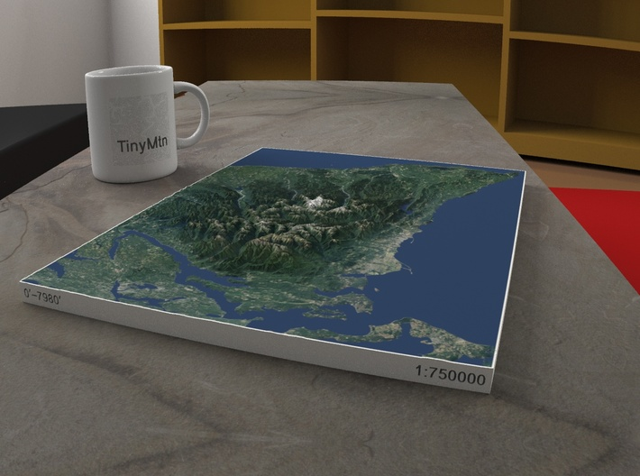 13'' Olympic Peninsula, WA, USA, 1:750000 3d printed