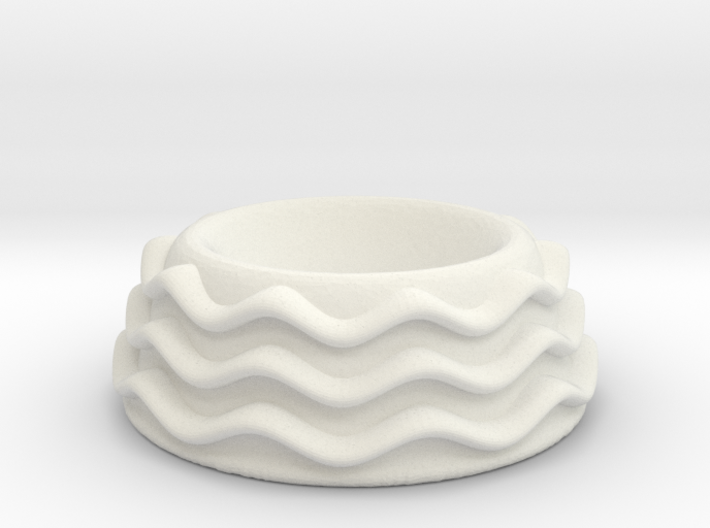 egg cup with wavy pattern rings 3d printed