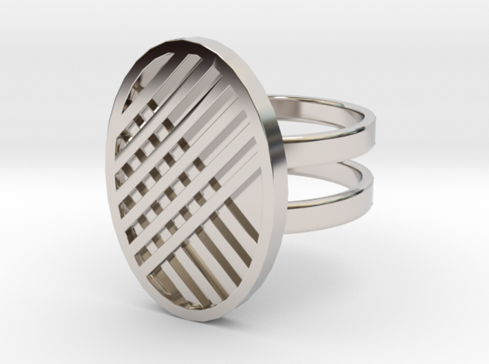 Two Stripe Ring 3d printed Rhodium plated brass