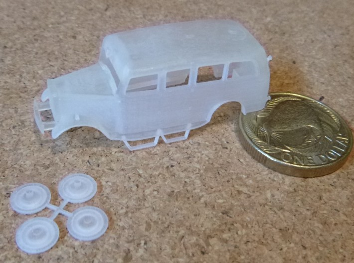 NZR Inspection Railcar 1:120 3d printed 1:120 body and hubcaps with a NZ $1 coin
