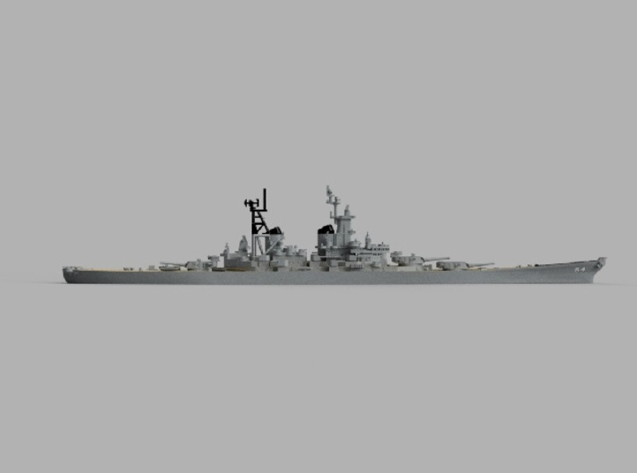 1/1800 USS Wisconsin 1956 3d printed Computer software render.The actual model is not full color.