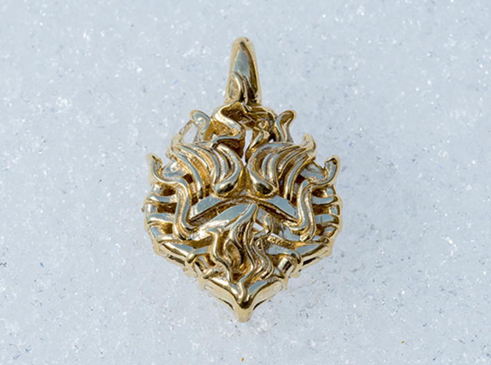 Heart on Fire Pendant. 3d printed Photo of Heart on Fire In Brass, yellow gold plating.