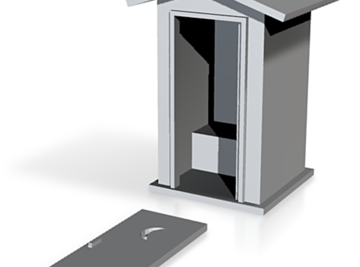 N-Scale Peaked Roof Outhouse 3d printed Shapeways Rendering