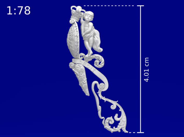 1:78 HMS Victory Figurehead (wide edition) 3d printed