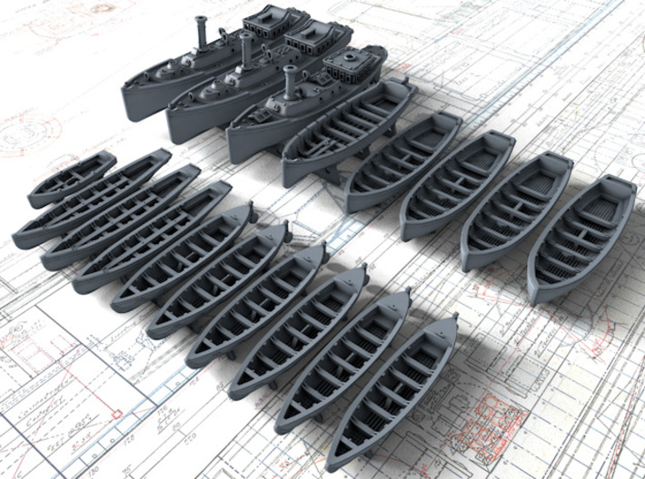 1/600 HMS Iron Duke Boat Set 3d printed 1/600 HMS Iron Duke Boat Set