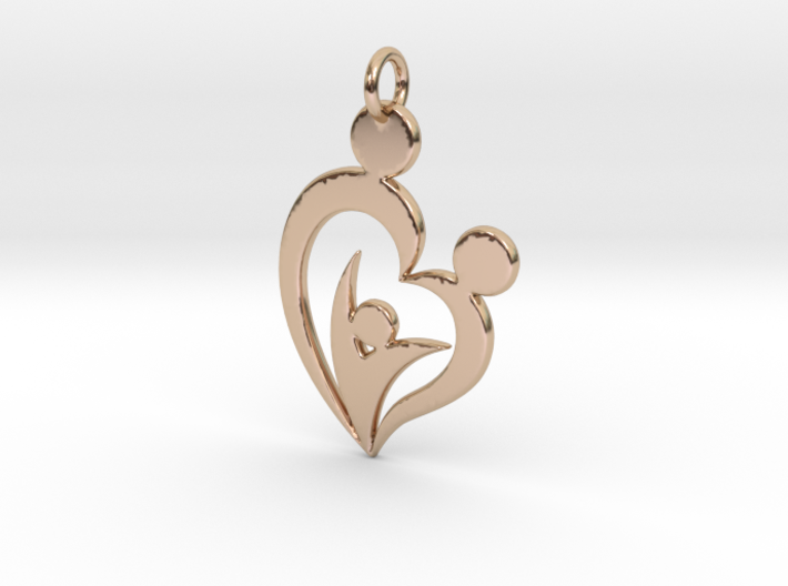 Family of Three Heart Shaped Pendant 3d printed
