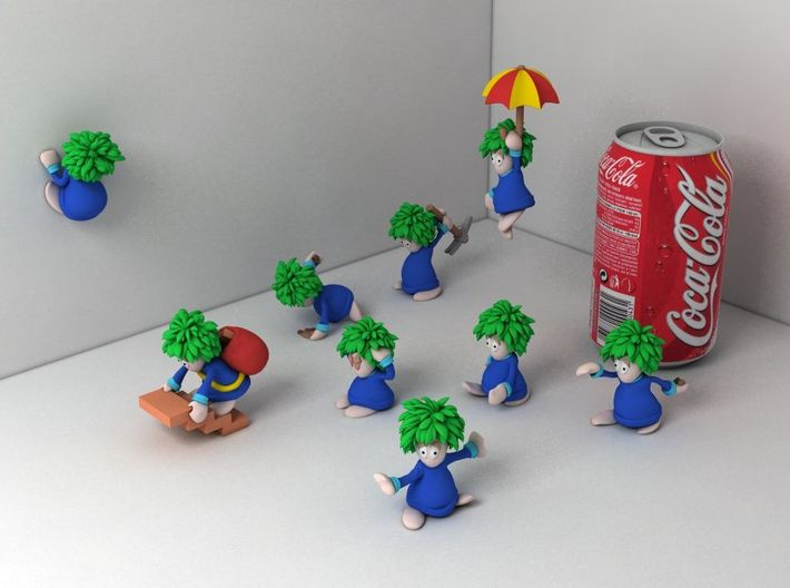 Lemming Climber (Large and in Color) 3d printed All lemmings together