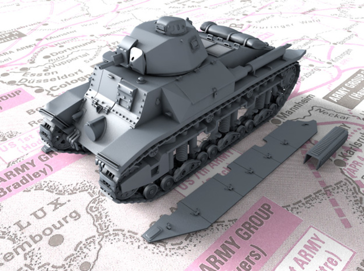 1/56 French Char D2 Medium Tank 3d printed 3D render showing Track detail