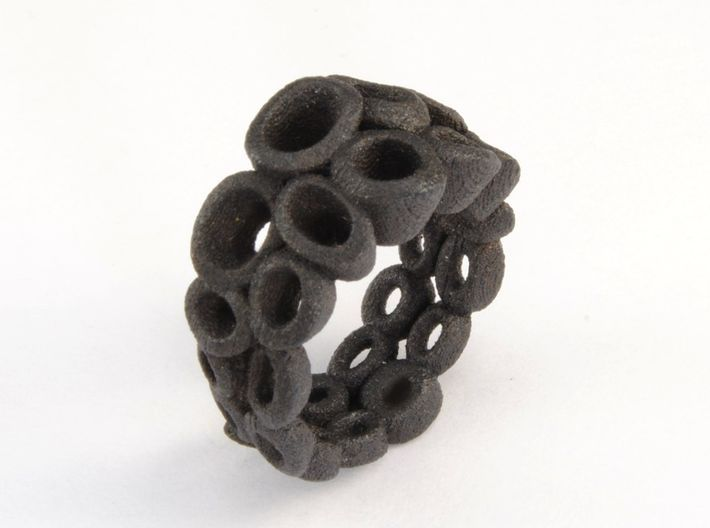 Neitiry Organic  Ring (From $13) 3d printed Black steel ring