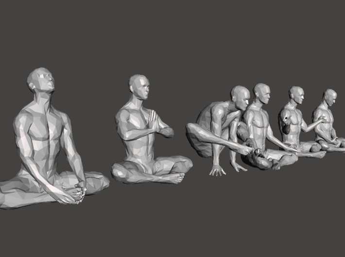 Low-poly Strong man sitting collecting 001 3d printed