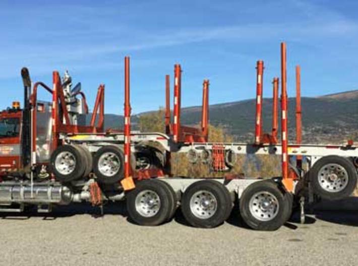 1/64th Quad Axle Log Trailer with Truck bunks 3d printed Actual one to show concept