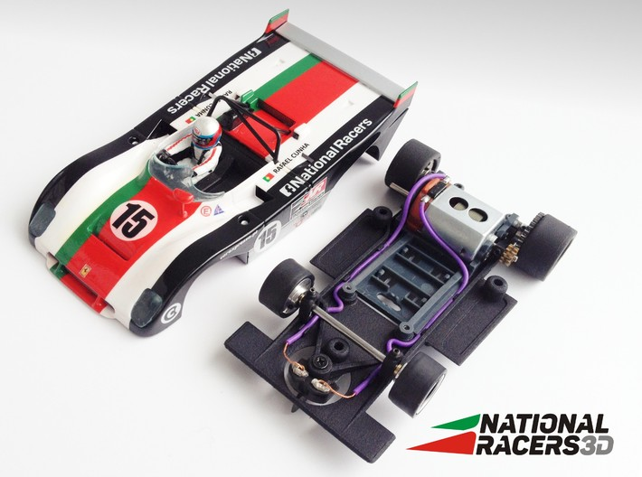 3D chassis - Sloter Ferrari 312 PB (SW) 3d printed Chassis compatible with Sloter model (slot car and other parts not included)