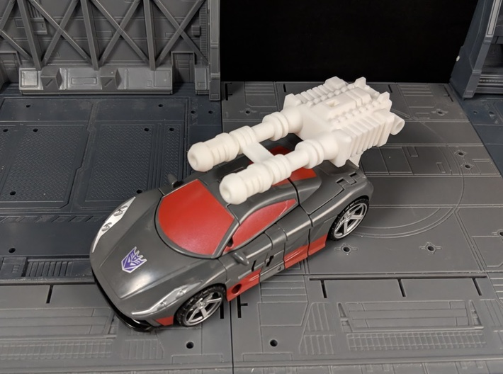 TF Combiner Wars Brake-Neck Wildrider Car Cannon 3d printed Mounted in Vehicle Mode with Adapter