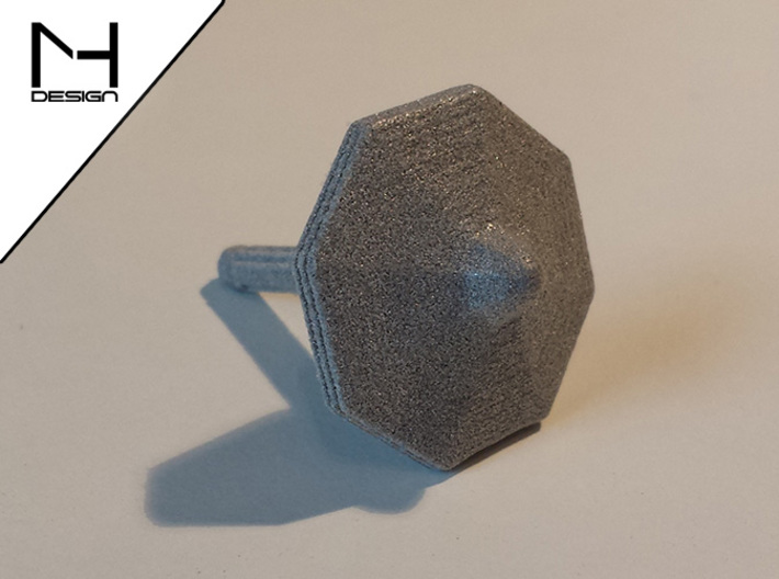 Spinning Top / Tol Hexagon 3d printed Polished Alumide