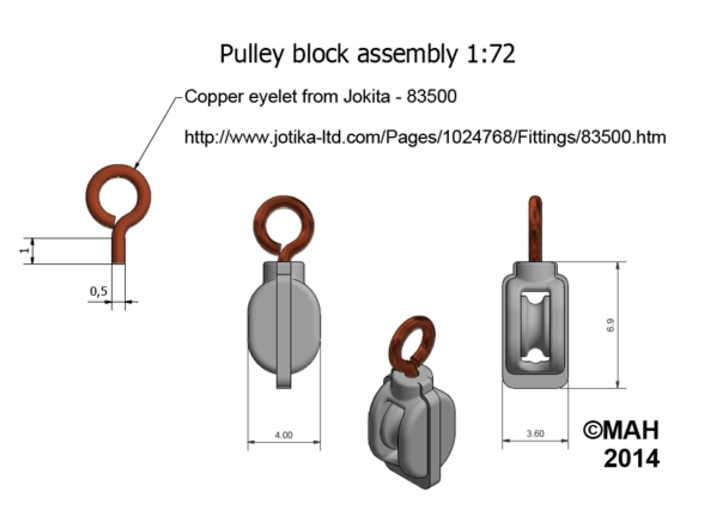 Block Pulley Non-working x 48 1/72 3d printed
