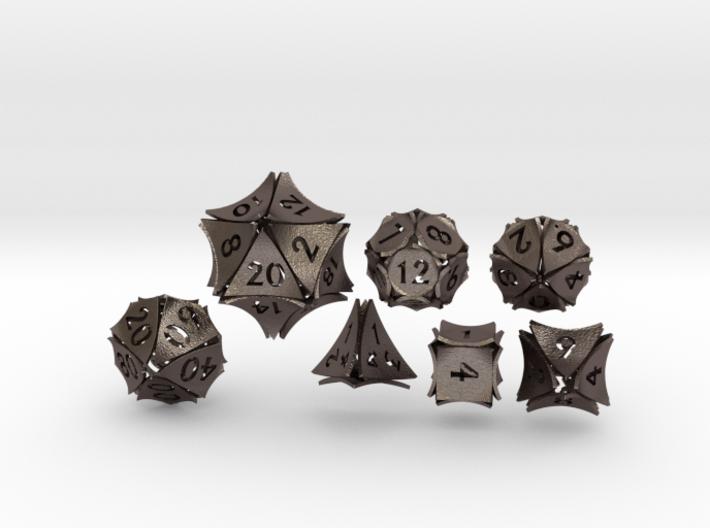 Peel Dice - 7 die polyhedral set 3d printed